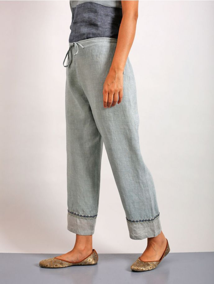 Suda Gotapatti Hand-Embroidered Linen Pants