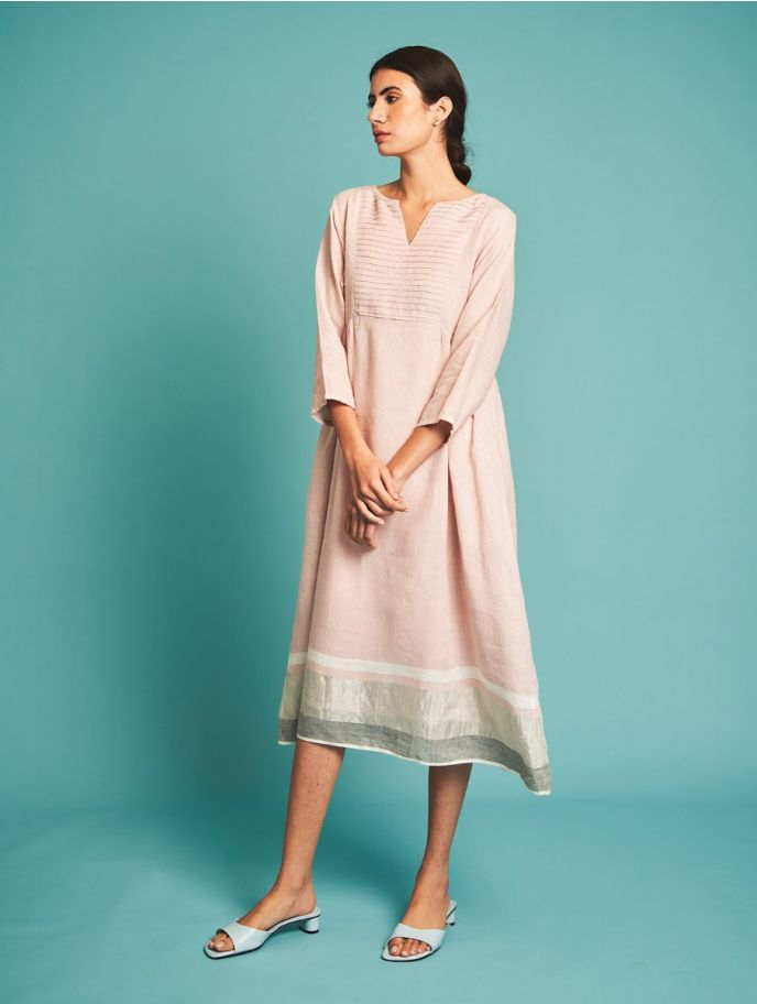 Ren Pintucked Linen Dress - Blush