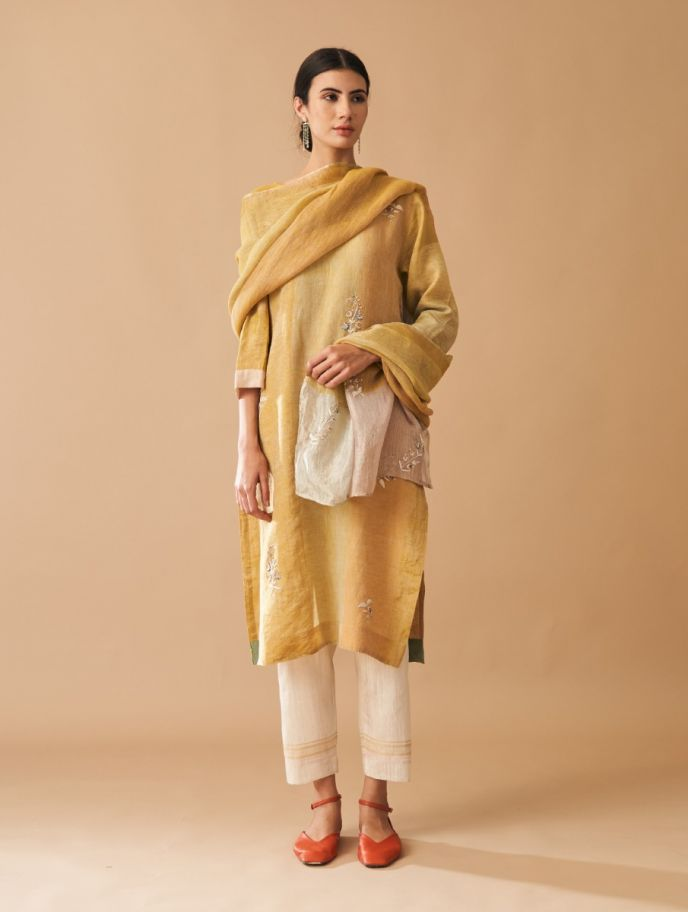 Mehsa Embroidered Kurta with Silk Pants and Dupatta