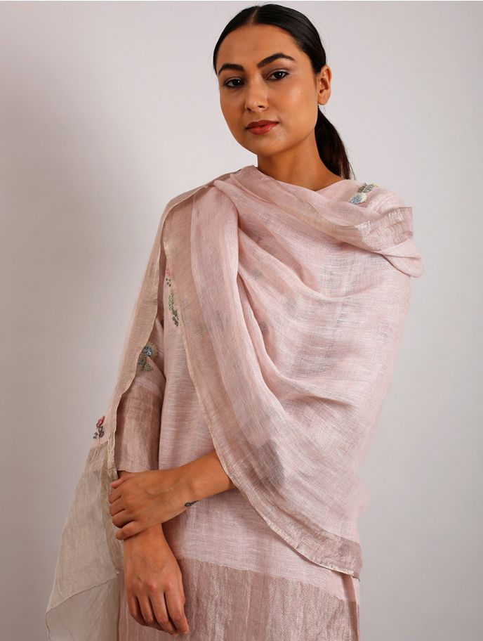 Bette Hand-Embroidered Floral Metallic Linen Dupatta
