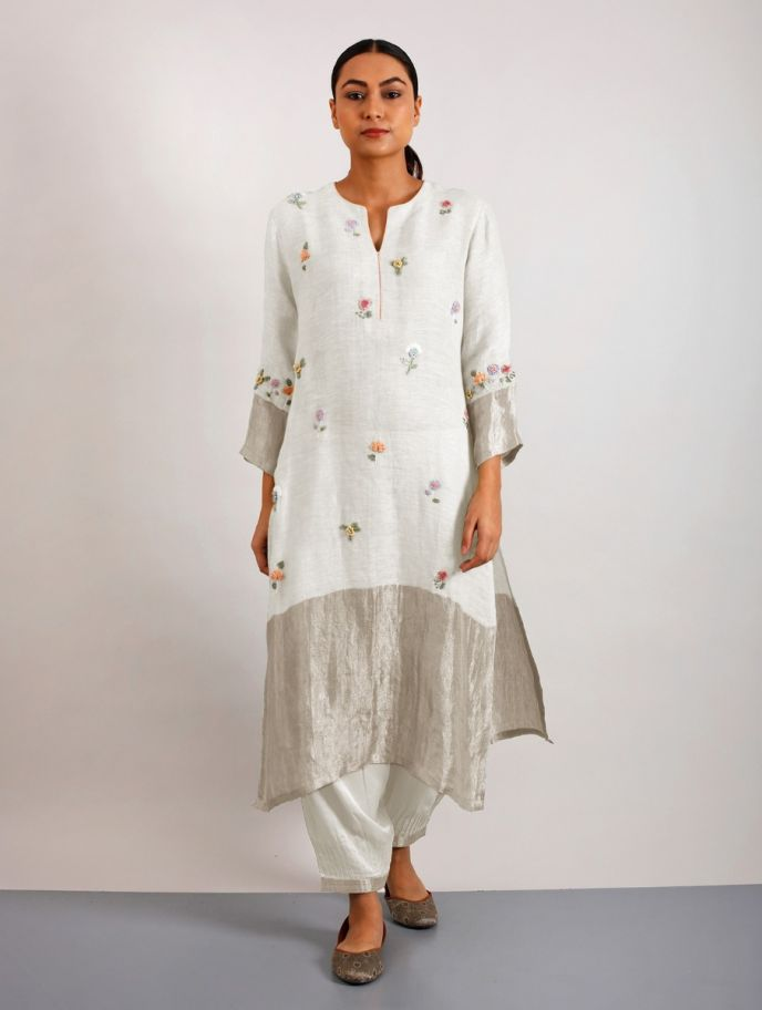 Emile Hand-Embroidered Metallic Linen Kurta