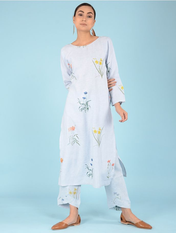 Lydia Watercolor Botanical Printed Linen Kurta