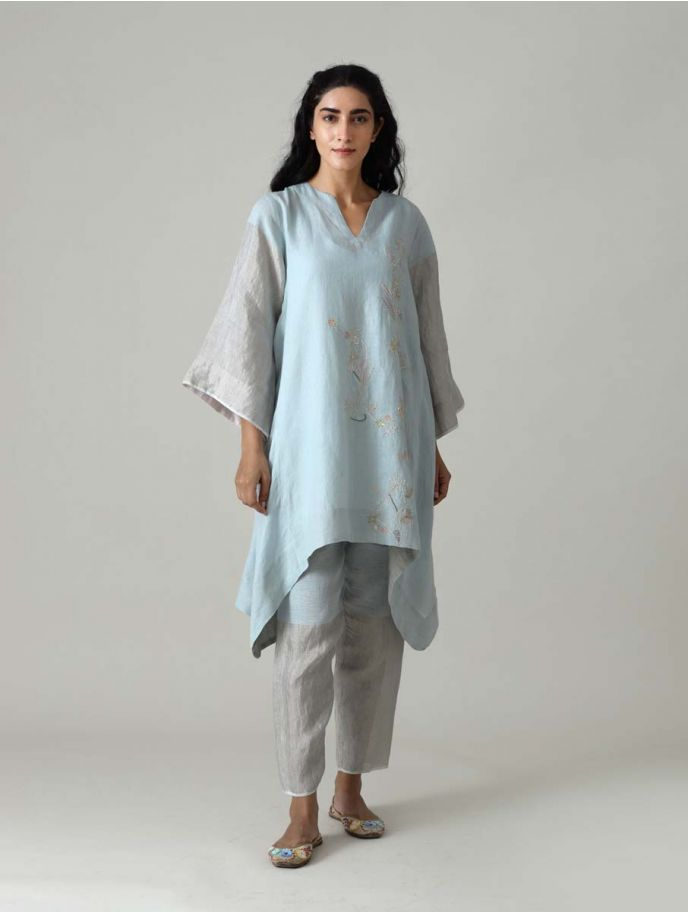 Rina Embroidered Metallic Kurta