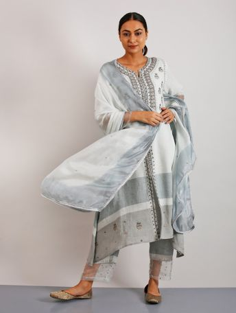 Erhi Gotapatti and Hand-Embroidered Kurta Set with Pants and Dupatta