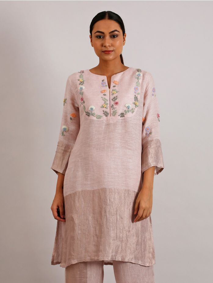 Celia Hand Embroidered Metallic Linen Kurta
