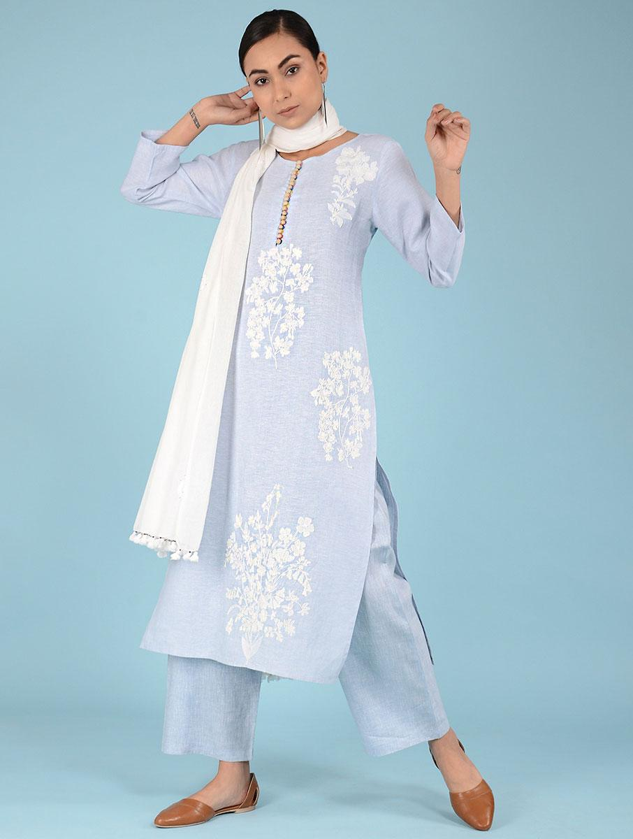 Kyra Dori Embroidered Botanical Linen Kurta