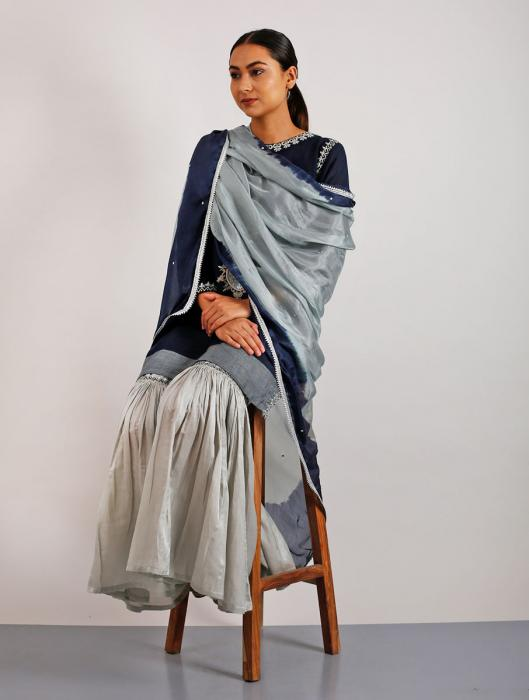 Taban Silk Hand-Embroidered Ombre Dyed Dupatta