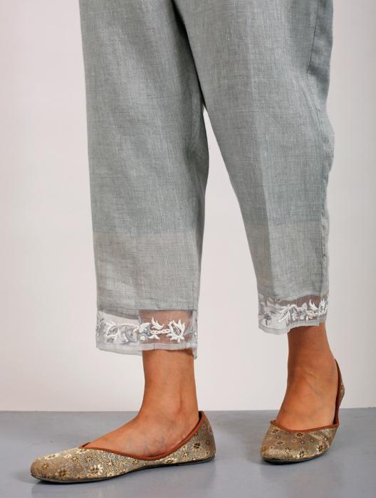 Inzali Embroidered Linen Kurta with Embroidered Pants