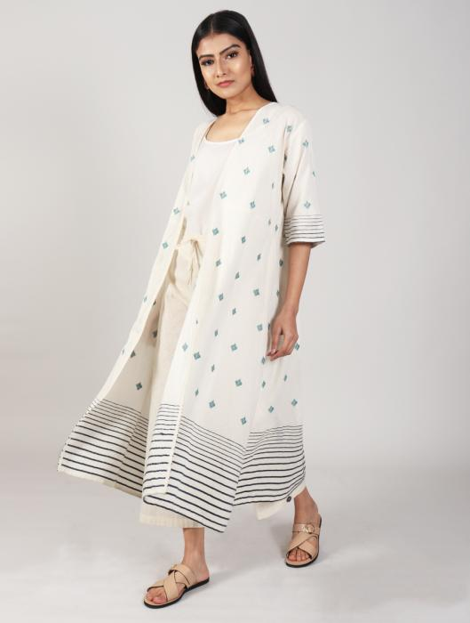 Henna Embroidered Long Summer Cape