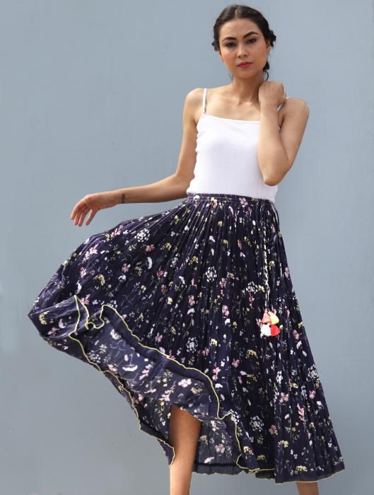 Alinea Floral Printed Tasseled Skirt in Self-Woven Cotton