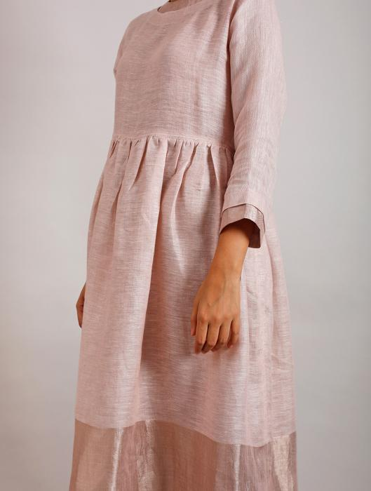 Estelle Metallic Linen Midi-Dress with Pockets