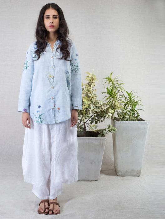 Mae Water-Color Botanical Printed Linen Shirt