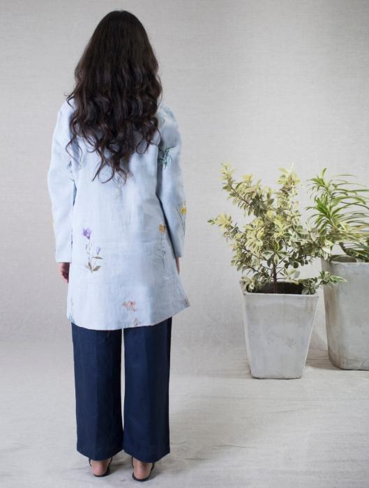 Manon Botanical Printed Jacket with Tasseled Buttons