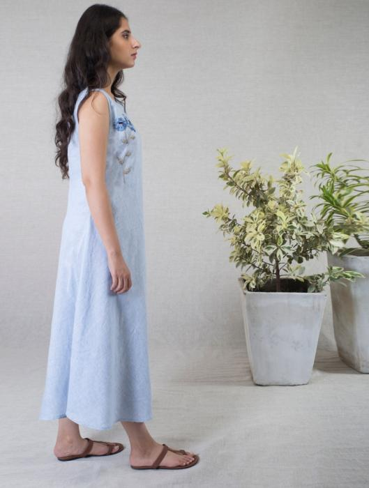 Kyra Linen Dress with Hand-Embroidered Floral Motif