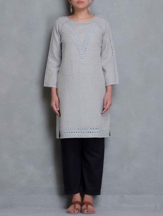 Janet Cut-work Embroidered  Linen Top