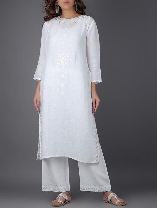 Azalea Mukaish Embroidered and Velvet Applique Linen Kurta
