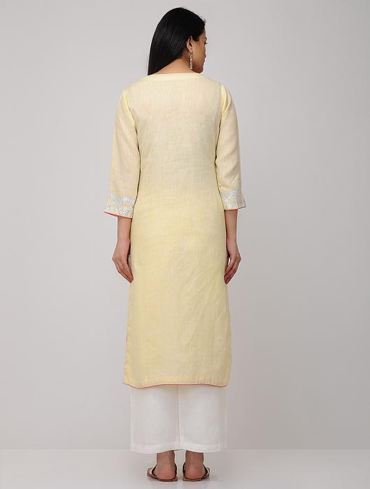 Annis Metallic Gota Embroidered Linen Kurta