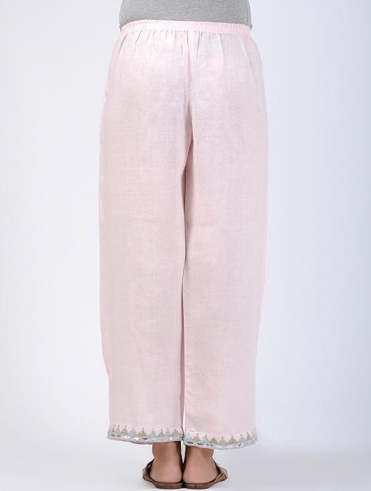 Ishanvi Linen Pant with Metallic Zari and Gotapatti Accents