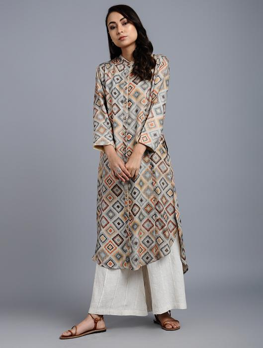 Ikis Multi-Color Geometric Print Silk Kurta