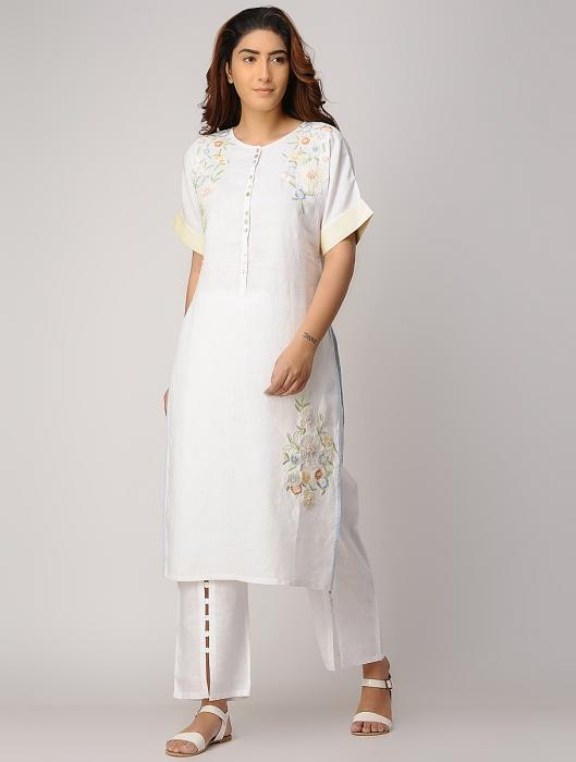 Gianna Linen Floral Embroidered Kurta