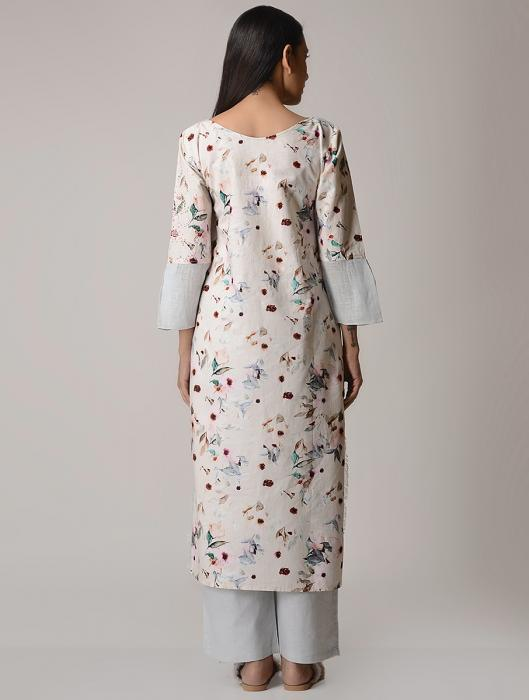 Jasmin Floral Printed Cotton Kurta with French Knots