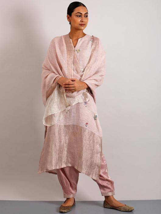 Emile Metallic Linen Hand-Embroidered Kurta Set with Pants and Dupatta
